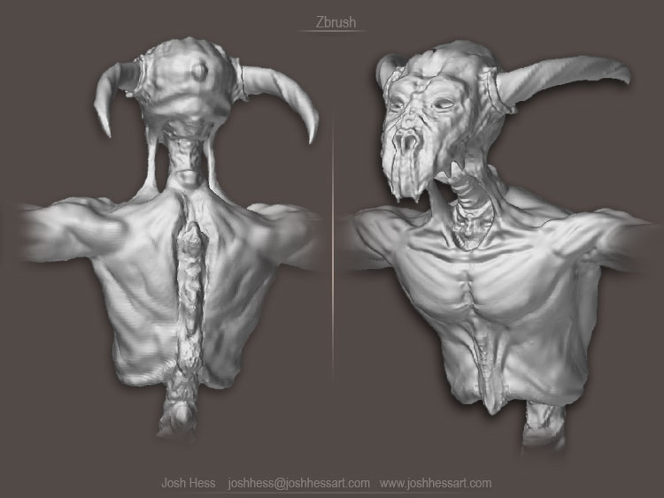 Monster, Spine, Back, Zbrush